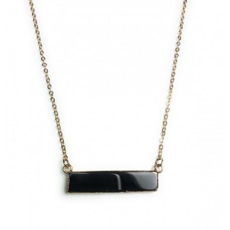 Collier Lingot Noir Agate horizontal plaqué or 24K